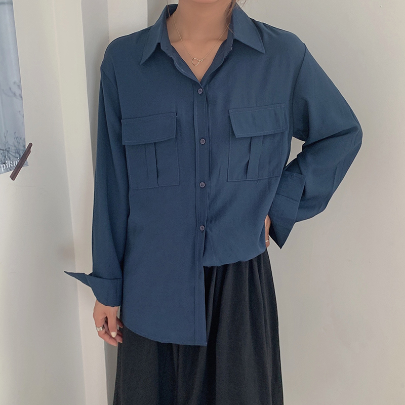 REALEFT Autumn 2020 New Solid White Women's Blouse Pockets Shirt Tops Long Sleeve Turn-down Collar Korean Style Loose Blouses 8