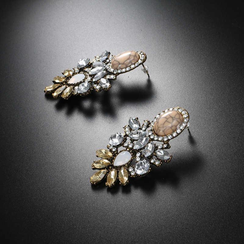 CARTER LISA Großhandel Frauen Luxus Große Kristall Cluster Blume Ohrring Fashion-Statement Stud Ohrringe für Frauen