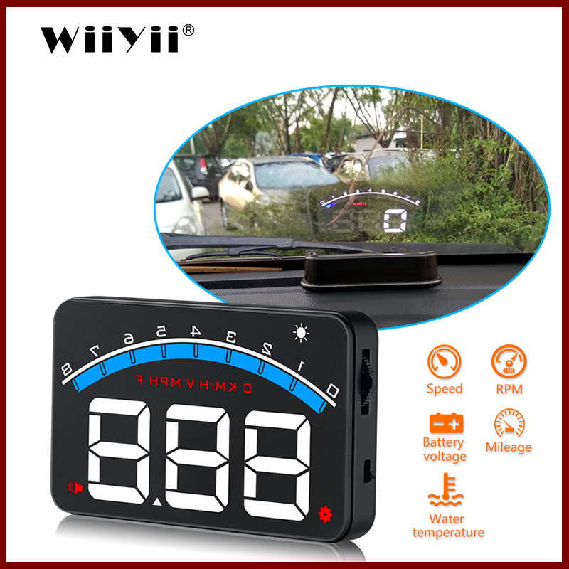 WiiYii M6 OBD2 HUD Head-Up Display Big Digital Number HUD  Driving Speed Windshield Projector Overspeed Warning System