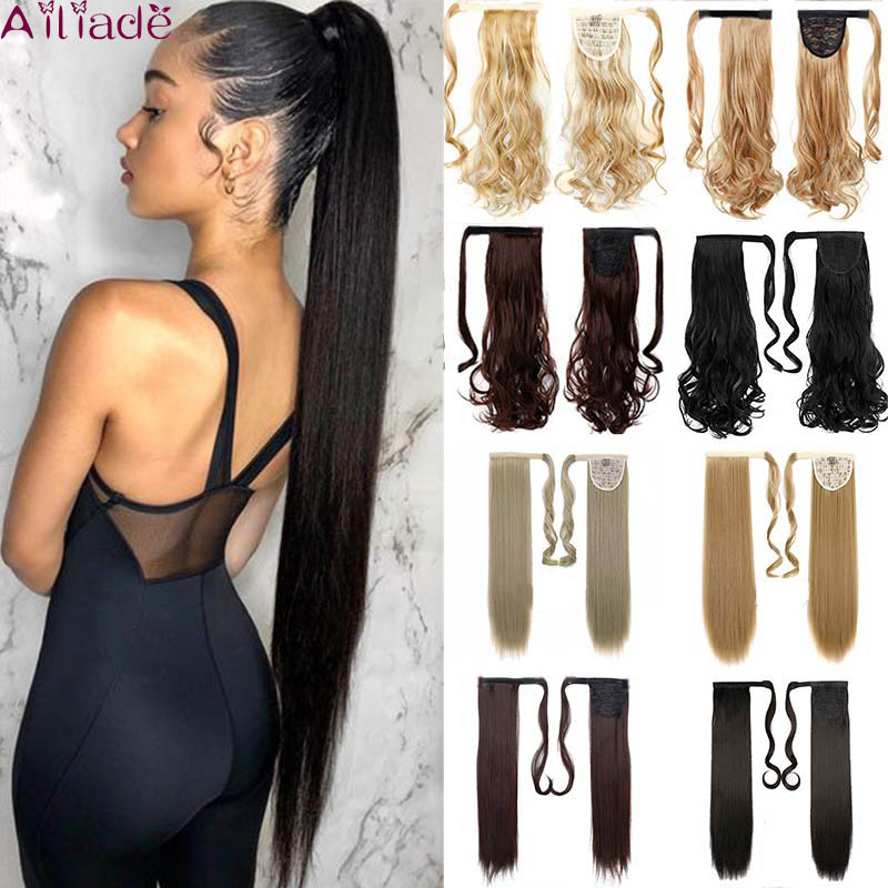Ailiade 24inch Remy Hair Magic Wrap Velcro Around Ponytail Clip In Hair Extensions Chemical Fiber Horsetail Stragiht Black Brown
