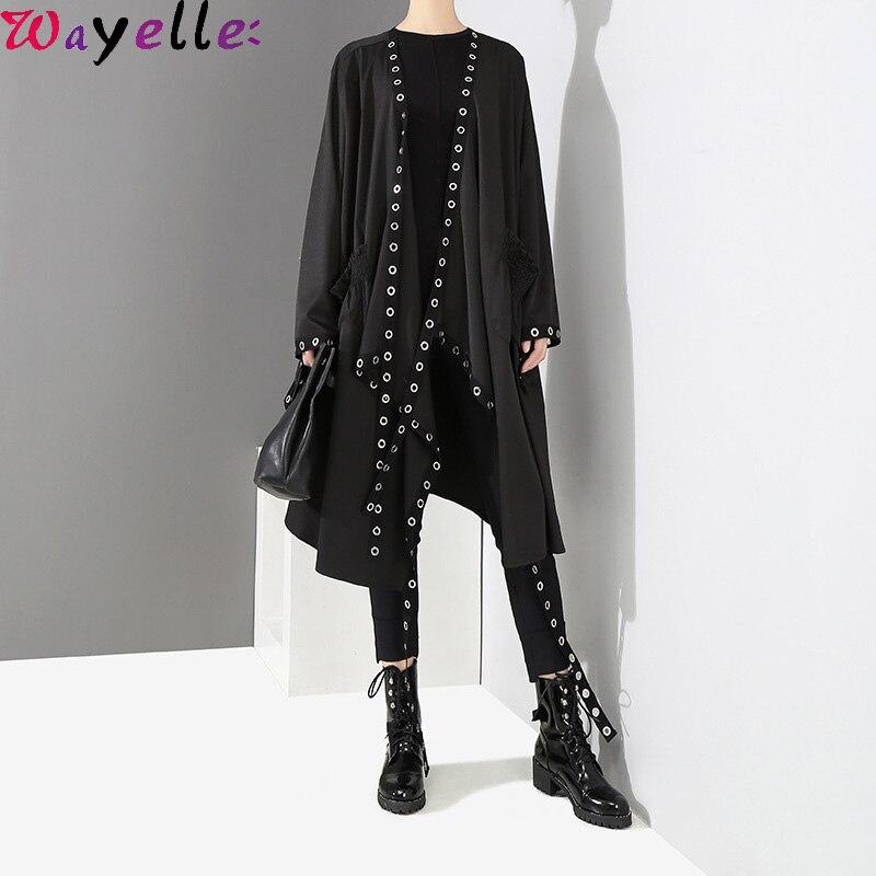2019 Korean Style Women Trench Coat Long Open Design Long Tape Stitched Metal Hole Loose Female Jacket Coat Stylish Streetwear