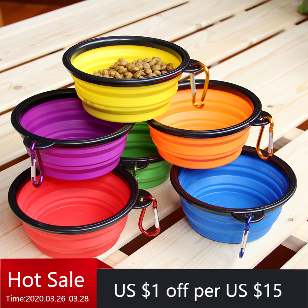 Dog Bowl Foldable Eco Firendly Silicone Pet Cat Dog Food Water Feeder Travel Portable Feeding Bowls Puppy Doggy Food Container