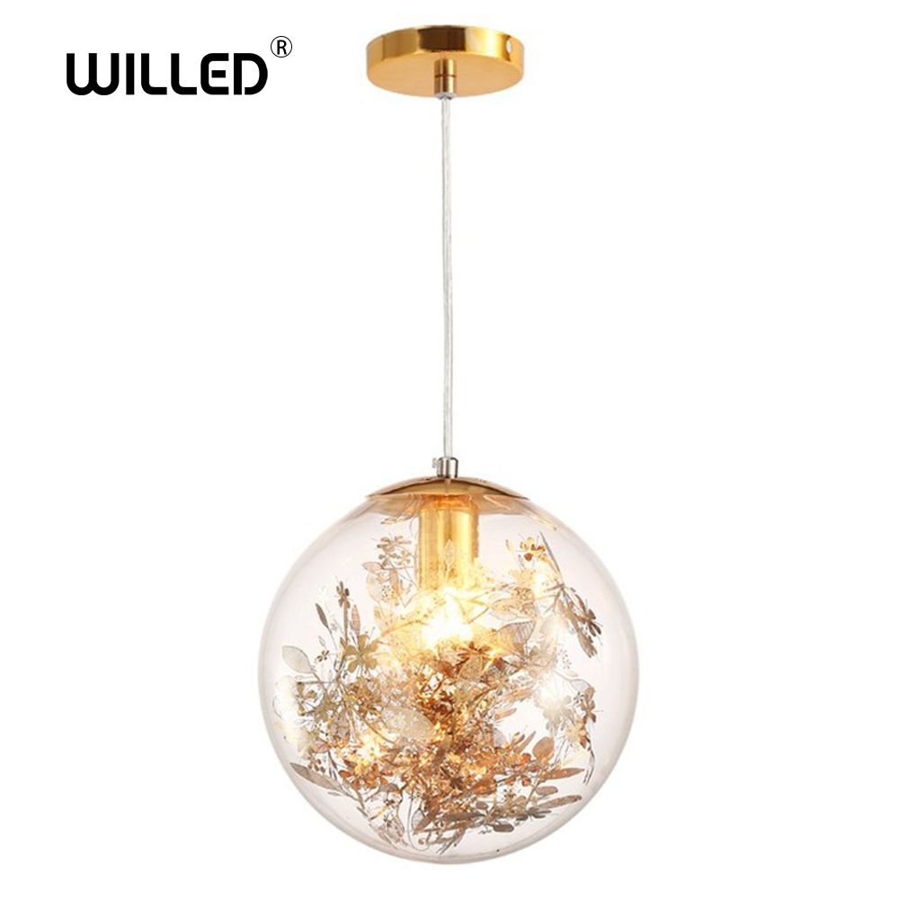 Nordic E27 Pendant Lights Gold And Silver Flower Hanging Lamp Hanglamp Creative Transparent Glass Staircase Loft Home Deco