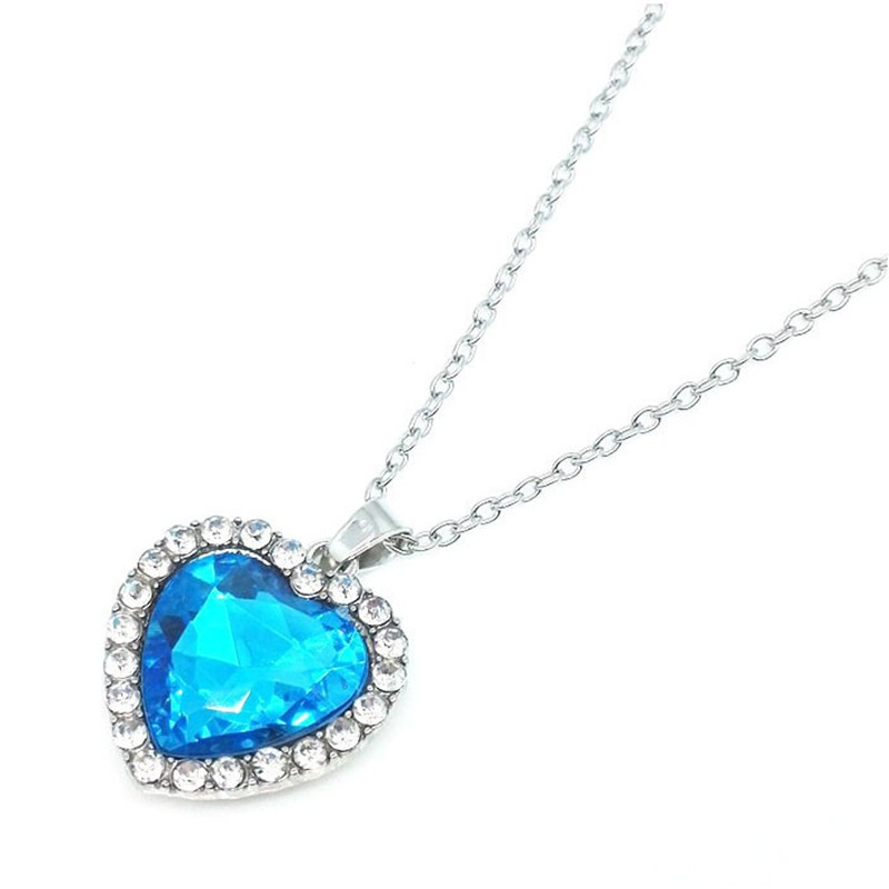 2021 Новое популярное циркониевое Персиковое сердце синее Сердце океана ожерелье модное темпераментное женское кристаллическое короткое ож...