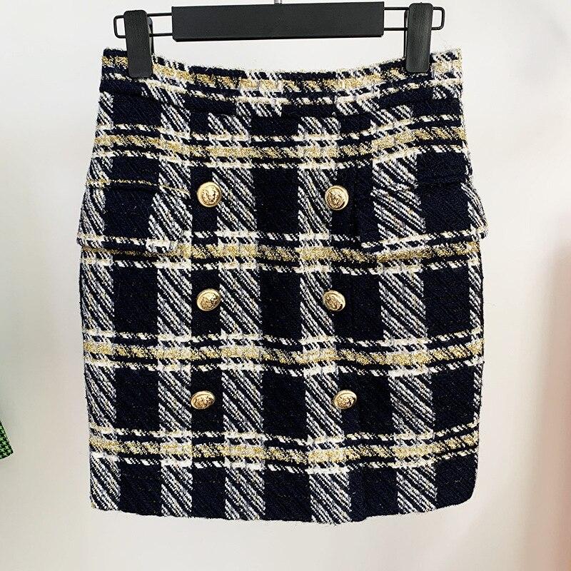 Plaid Skirt Women 2021 New Metal Lion Button Woolen Casual Work Mini Pencil Skirt and Blazer Jacket Set Skirt Suit High Quality
