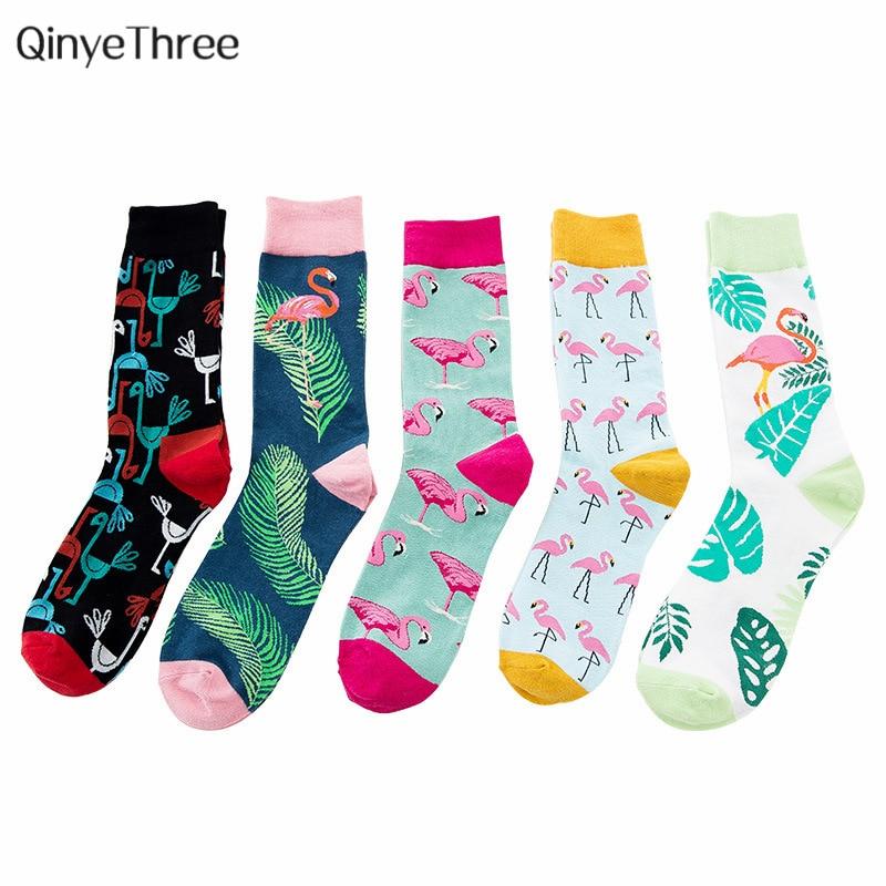 Cool Flamingos Jacquard Men Socks Hip Hop Crew Funny Bird Street Happy Socks Men Harajuku Divertidos Skateboard Chaussette Homme