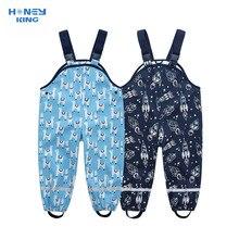 HONEYKING Children's PU Waterproof Rain Pants Toddler Baby Boys Girls Jumpsuit Rompers Kids Rain Overalls Suspenders Pants
