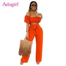 Adogirl – combinaison pour femmes, couleur unie, Orange, col Slash, manches lanterne, épaules dénudées, salopette ajourée, dos nu, jambes larges