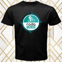Roda mundo bicicleta empresa logotipo masculino preto t camisa tamanho s 3xl