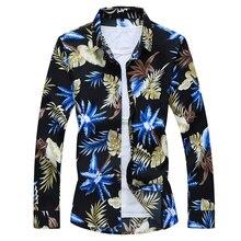 Hawaiian Beach Casual Floral Shirt For Man 2021 Autumn Spring Clothes Shirt Men Long Sleeves Big Size M-5XL 6XL 7XL