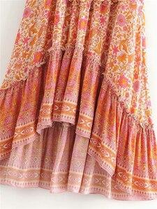Image 3 - Винтажная шикарная Женская Хиппи с цветочным принтом, Пляжная богемная плиссированная юбка с высокой эластичной талией и оборками, макси трапециевидная Бохо Юбка Femme