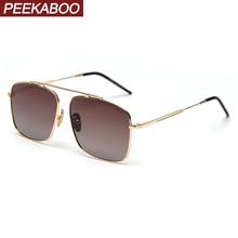 Peekaboo metal square sunglasses men polarized brown black 2020 female sun glasses for driving uv400 orange high quality