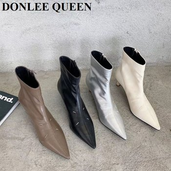 Fashion Pointed Toe Ankle Boots Women Thin High Heel Shoes Women Elegant Chelsea Boot New Brand Zipper Short Boots Women Booties black khaki knitted elastic socks boots thick high heel ankle boots women 2019 pointed toe elegant short booties for ladies
