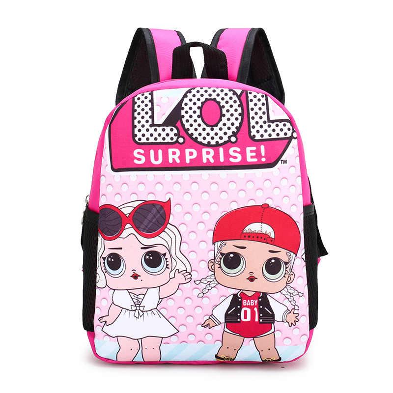 Bonito estampado de muñecos LoL, estampado sorpresa, mochila escolar para niños, mochila de jardín de infantes, necesario LoL, sorpresa para niños, cumpleaños