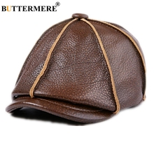 BUTTERMERE Beret Men Genuine Leather Newsboy Hat Earflaps Octagonal Cap Brown Male Brand Winter Warm Vintage Cowhide Leather Cap