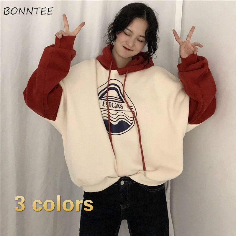 Hoodies Women Loose Velvet Plus Size Womens Harajuku Fashion New Korean Style BF Streetwear Long Sleeve Tops Ulzzang Comfortable