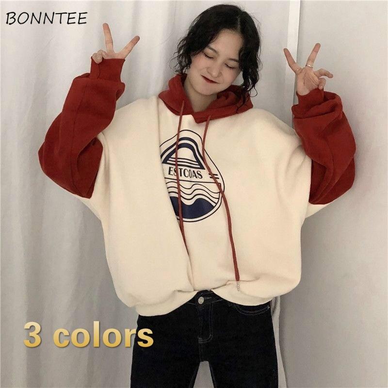 Hoodies Women Loose Velvet Plus Size Womens Harajuku Fashion New Korean Style BF Streetwear Long Sleeve Tops Ulzzang Comfortable