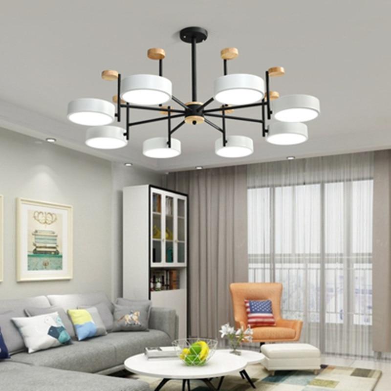 Скандинавская люстра, железный деревянный светодиодный светильник, Современная Потолочная люстра, освещение для гостиной, спальни, лофт, домашний декор, Подвесная лампа