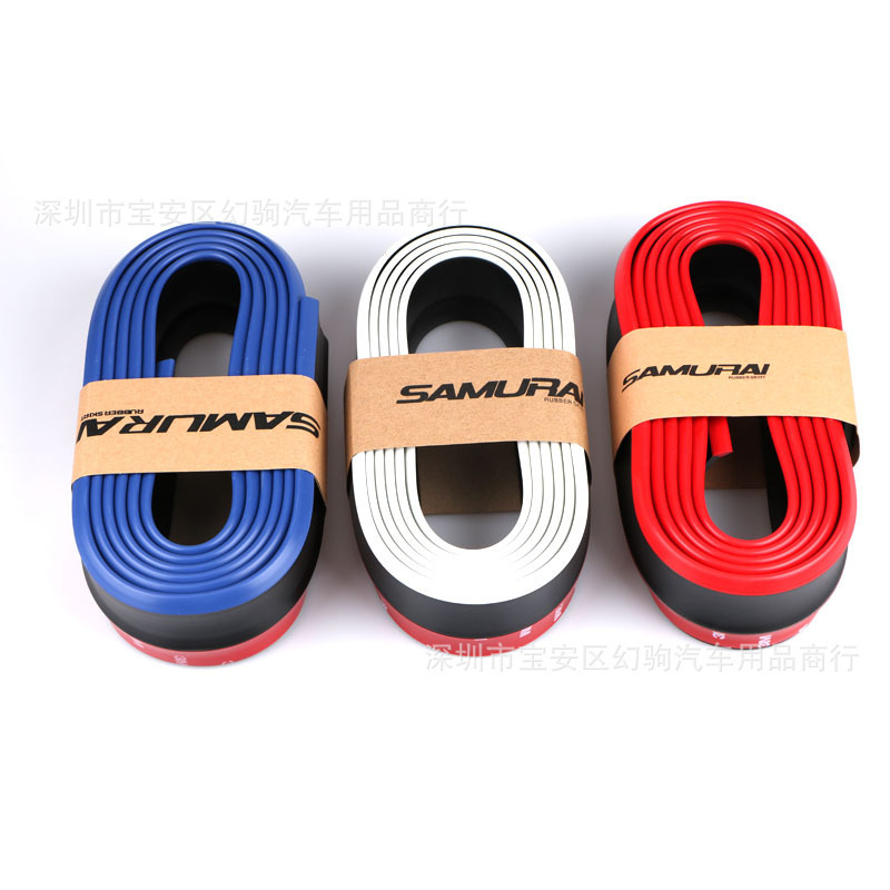 Thailand Samurai Car Double Color Rubber Skirt Front Lip Side Skirt Car Contrast Color Pu Front Shovel Scratch-resistant Tape Su