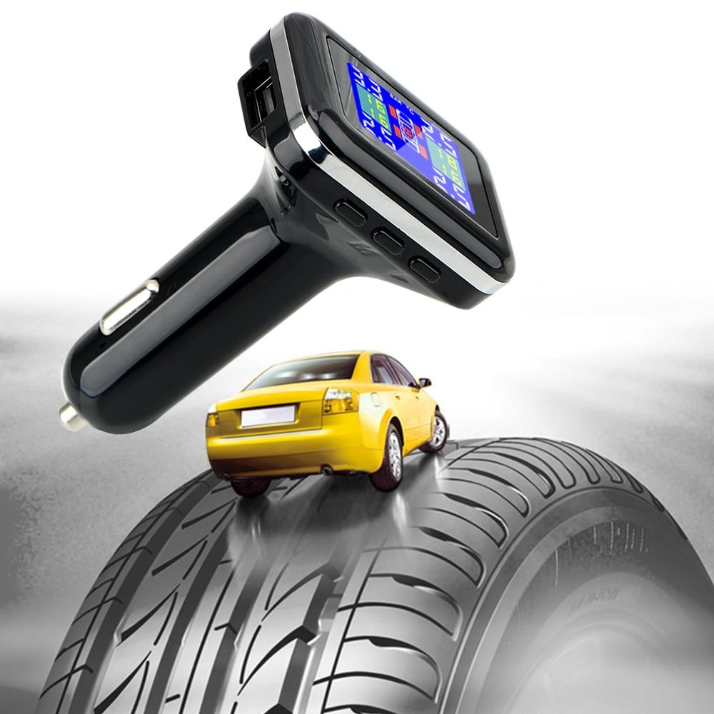 LEEPEE 4 External Sensors TPMS Car Tire Pressure Alarm Monitor System Cigarette Lighter Plug LCD Screen Display