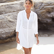European and American New Rayon Mesh Button Shirt Sunscreen Beach Skirt Women's Swimsuit with Cardigan