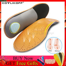 KOTLIKOFF หนัง Latex Orthopedic Foot Care Insole Antibacterial Active Carbon Orthotic Arch สนับสนุน Instep แบนเท้ารองเท้าเท้า(China)