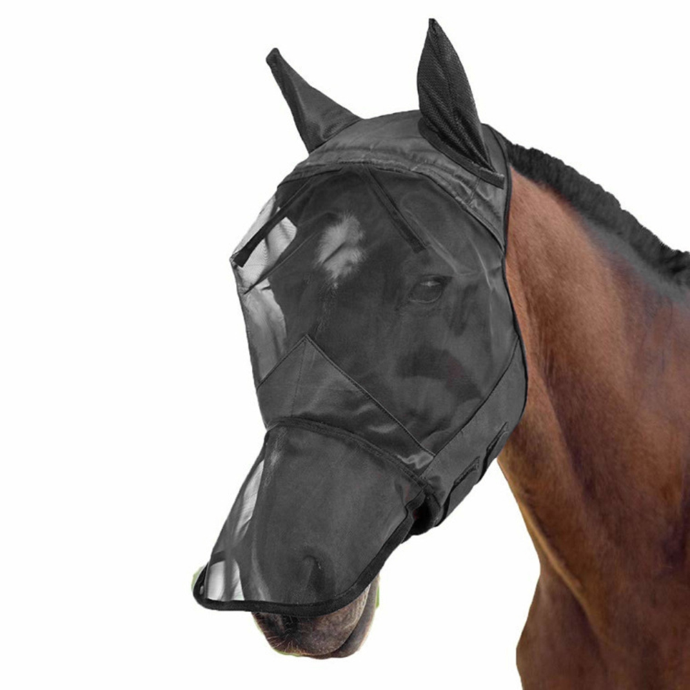 Horse Protect S/M/L/XL Breathable Mesh Fly Mask With Ears Nose Full Face For Horse/Cob Breathable Lightweight