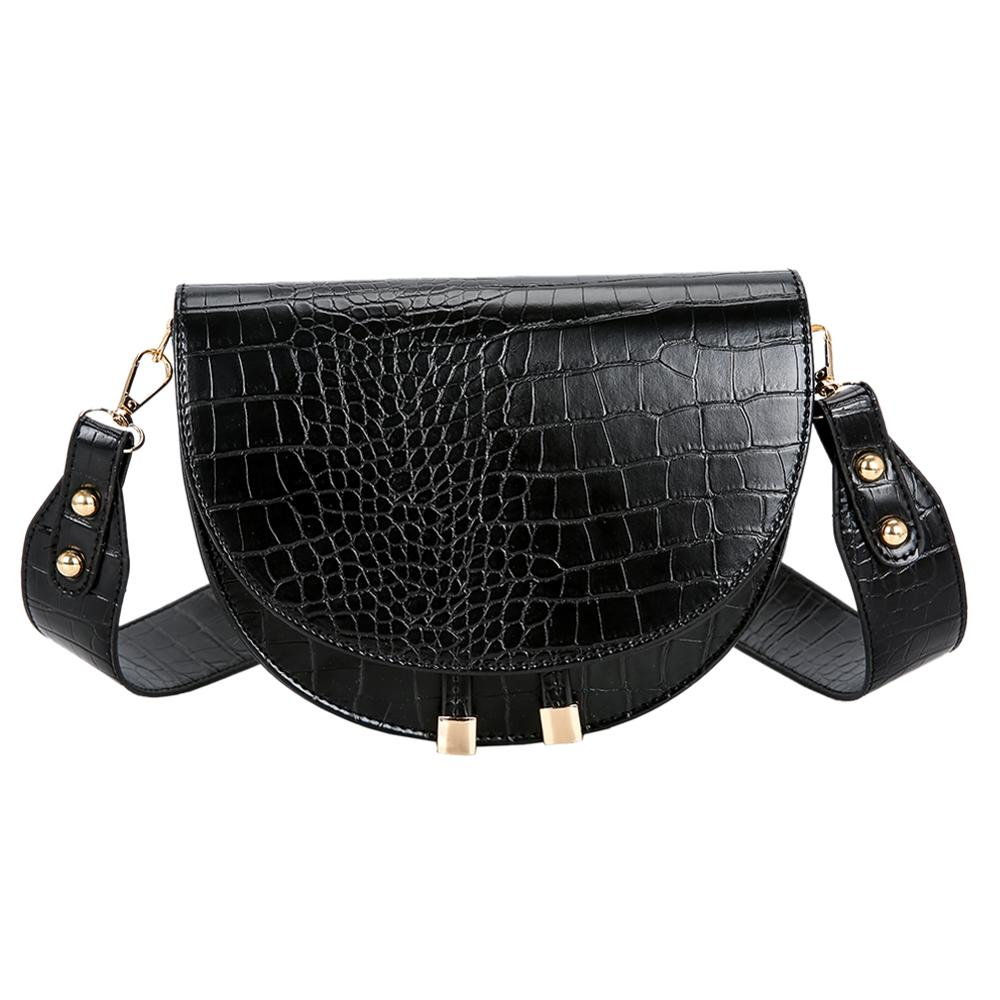 Luxury Crocodile Pattern Crossbody Bags For Women 2020 Half Round Messenger Bag PU Leather Handbags Shoulder Bag Sac Main Femme