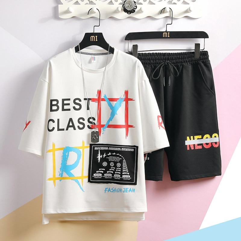 Men 2 Pieces Sets T-shirts+Shorts Mens Summer Tracksuits Sportswear Jogger Sets Good Quality Men Cotton Hip Hop Loose Sets 3XL
