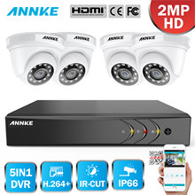 ANNKE 1080P 8CH CCTV Camera DVR System 4pcs IP66 Waterproof 2.0MP White Dome Cameras Home Video Surveillance Kit