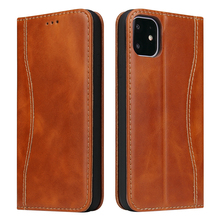 купить For iPhone 11 11 Pro Case High-grade Cow Genuine Leather Flip Stand Wallet Cover For iPhone 11 Pro Max Case Magnetic Card Slots дешево