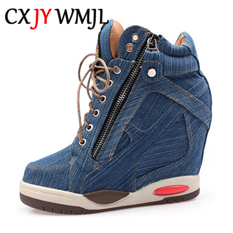 Women Denim Wedge Sports Shoes Platform Casual Sneakers Fashionable Woman Spring Shoe Autumn Side Zipper Vulcanized Heels Female
