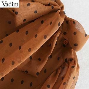 Image 5 - Vadim женский галстук бабочка в горошек с принтом миди платье с длинным рукавом женские платья с оборками стильный комплект из двух предметов vestidos QC778