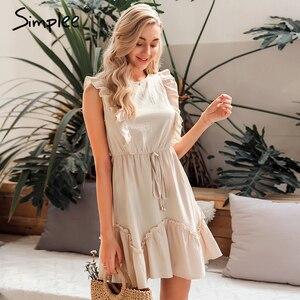 Image 3 - Simplee Sleeveless ruffled women dress High waist belt o neck a line summer dress Cotton solid female spring office mini dress