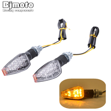 Купить с кэшбэком BJMOTO LED Turn Signal Motorcycle Light Amber Lamp Indicator Blinker Universal Flashing Moto Bike Lights/lamps