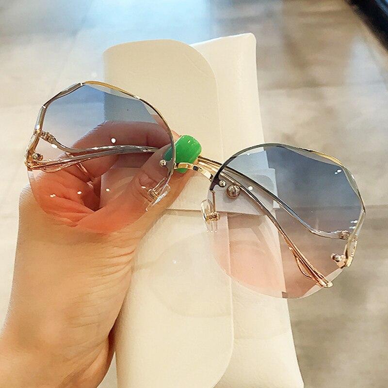 Gafas de sol redondas de medio marco para mujer, media montura femeninos de anteojos de sol, elegantes y con gradiente, color negro y marrón, 2020