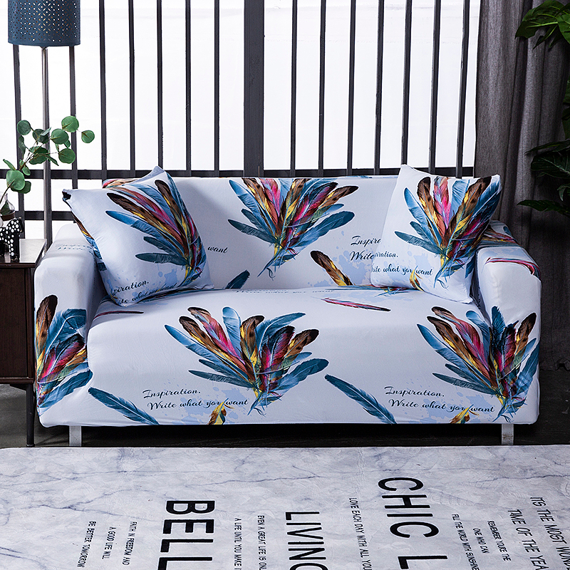 ><font><b>Colorful</b></font> <font><b>Feather</b></font> Elastic <font><b>Sofa</b></font> Cover for Living Room Restaurant Spandex Stretch <font><b>Sofa</b></font> Slipcovers Tight wrap Couch Cover for Home