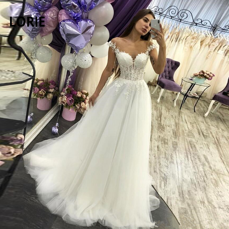LORIE Off Shoulder Princess Wedding Dress Lace Appliqued with Tulle Bride Gown White Ivory Beach Vestido De Noiva Plus Size
