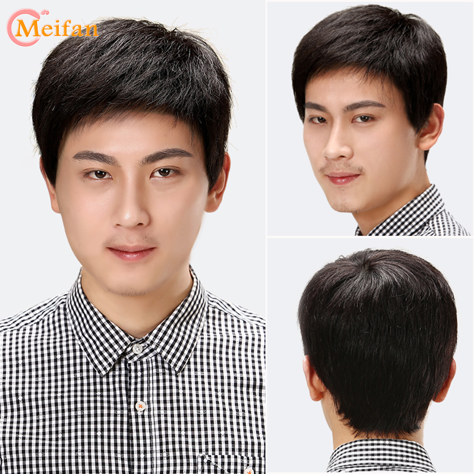 MEIFAN Short Straight Hair Pieces With Bangs Wigs For Men Invisible Natural Breathable Inner Net Synthetic Wig Hairpiece