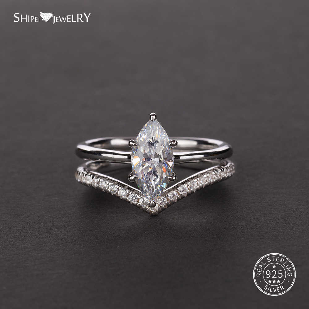 Shipei Marquise Cut Pink White Sapphire Ring For Women 925