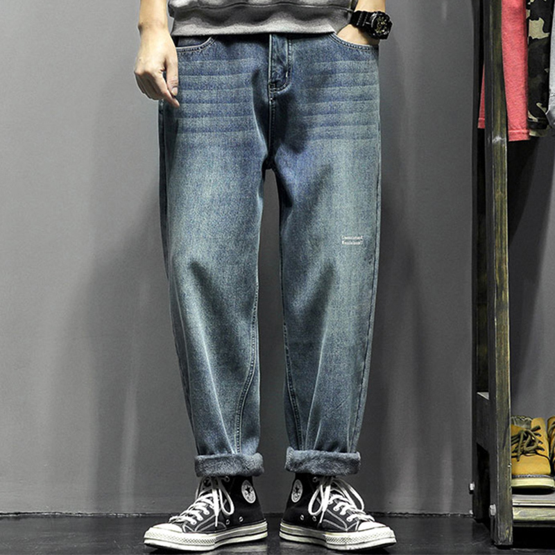 2020 Straight Jeans Pants Mens Fashion Pocket Denim Pants Men Designer Trousers Casual Loose Pants Men