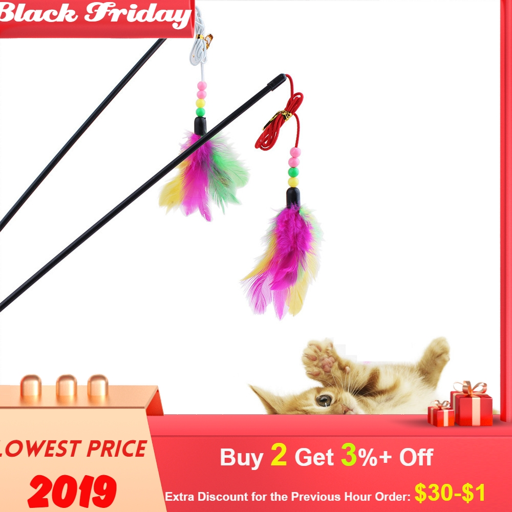 Great Kitten Play Interactive Fun Toy Cat Teaser Wand Pet Colorful Feather Grappige Kattenstok Toys For Cats For A Cat Toy#30G
