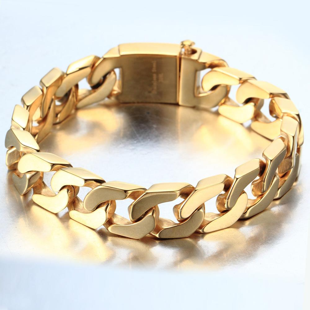 European and American popular style 12mm 22cm Gold Tone Heavy Stainless steel Men 39 s Cuban Curb Chain Bracelet in Chain amp Link Bracelets from Jewelry amp Accessories