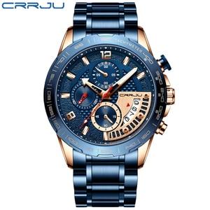 Image 2 - CRRJU 2020 Fashion Stainless Steel Mens Watches Top Brand Luxury Business Luminous Chronograph Quartz Watch Relogio Masculino