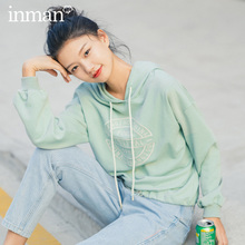 INMAN 2020 Spring New Arrival Literary Hooded Drawstring Dropped Shoulder Sleeve Personality Embroidered Loose Fleece