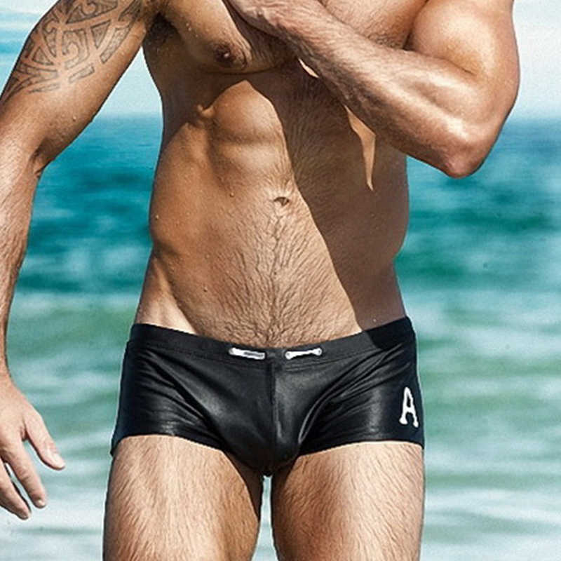 Men swimming trunks Swimsuit Sexy gay swimwear Sunga Letter Breathable Sports Surf board Boxer Men beach shorts Swim Briefs