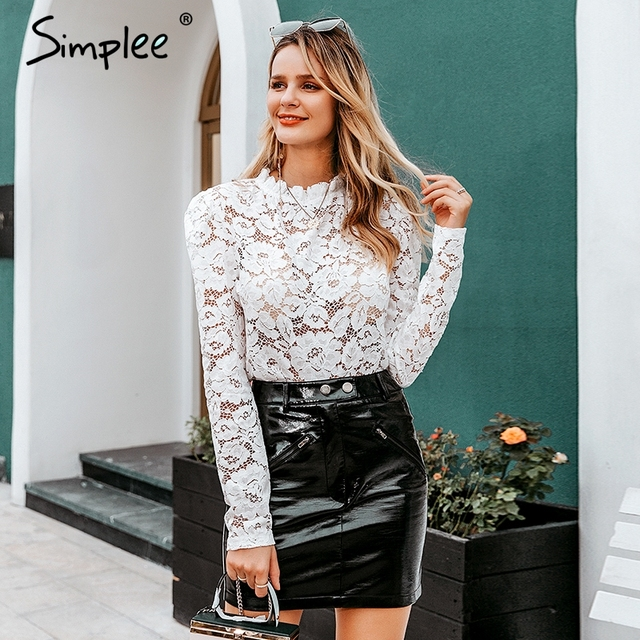 Simplee Elegant women white lace blouse Sexy see through female office shirts Chic puff sleeve crew neck ladies work wear tops 1