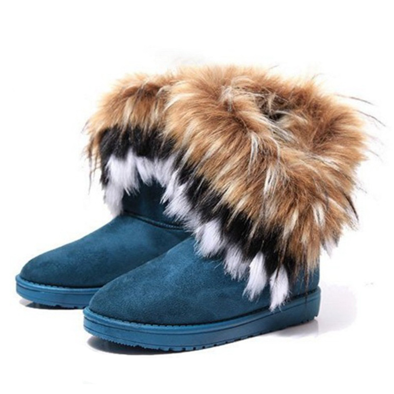 Women Fur Boots Ladies Winter Warm Ankle Boots For Women Snow Shoes Style Round-toe Slip On Female Flock Snow Boot Ladies Shoes 18