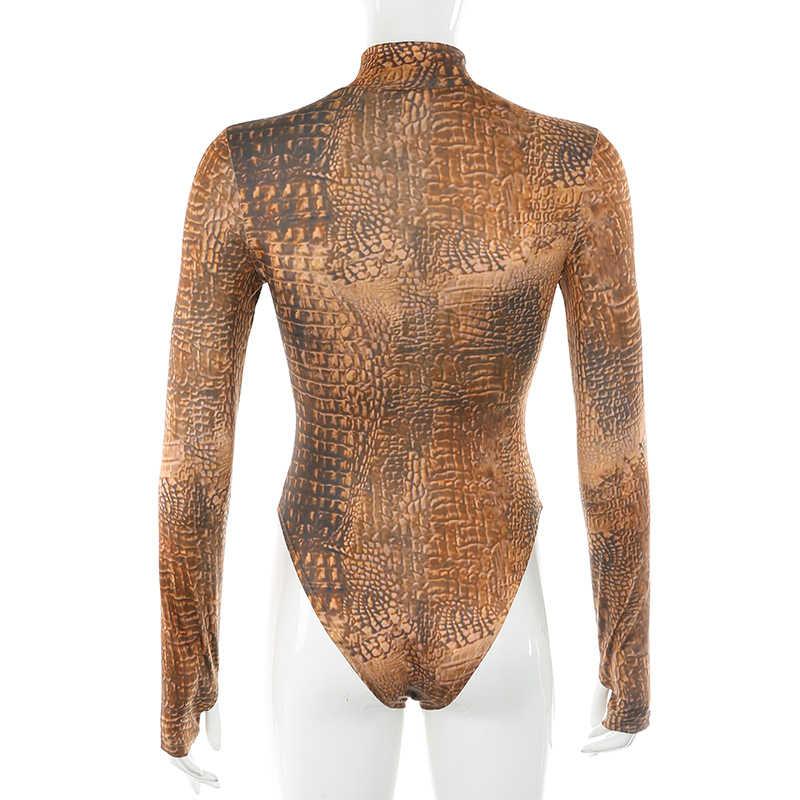 سويتتاون بدلة ضيقة مطبوعة على شكل تمساح حريمي لخريف وشتاء 2019 ملابس نسائية ذات ياقة مدورة وأكمام طويلة