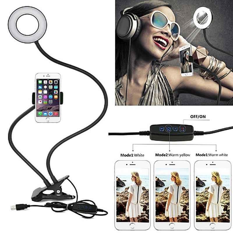 Lumière D'anneau De Selfie avec Cellule support pour téléphone Support pour le Flux En Direct et Maquillage, USB caméra LED Lumière [3-Mode Lumière] Avec Flexible Lon